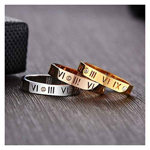 3mm Thin Women Rings Hollow Roman Numeral with Elegant Chic Lady Party Ring (Color : 3 pieces, Size : 6)