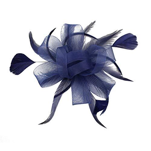 Lurrose Fascinator Clip de Pelo Pluma Malla Flor Broches para el Cabello Accesorios para el Cabello Vintage Broche para Mujeres (Azul marino)