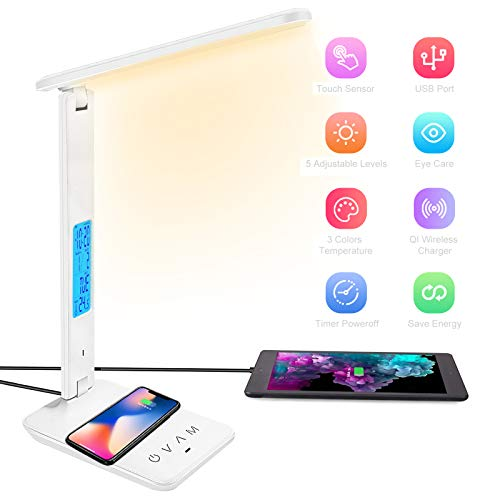 BelonLink Lámpara Escritorio LED, Carga Inalámbrica Wireless y Puerto USB, Flexo de Lectura con 3 Modos y 5 Niveles de Brillo, Control Táctil y Temporizador, (Blanco) [Clase energética A+++]