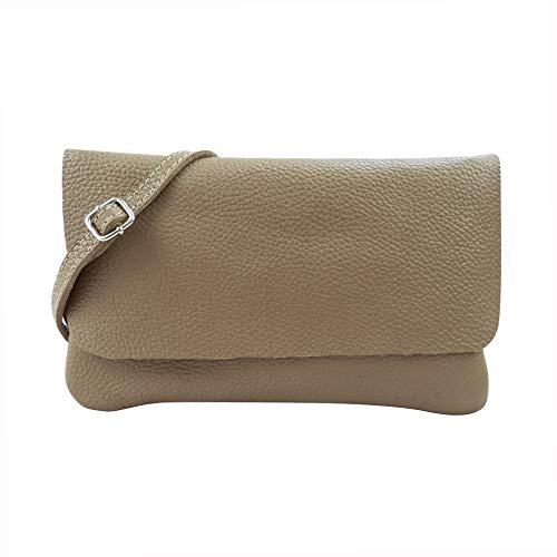 SH Leder Echtleder Umhängetasche Clutch kleine Tasche Abendtasche 24,50x15cm Ely G149 (Dunkel Taupe)