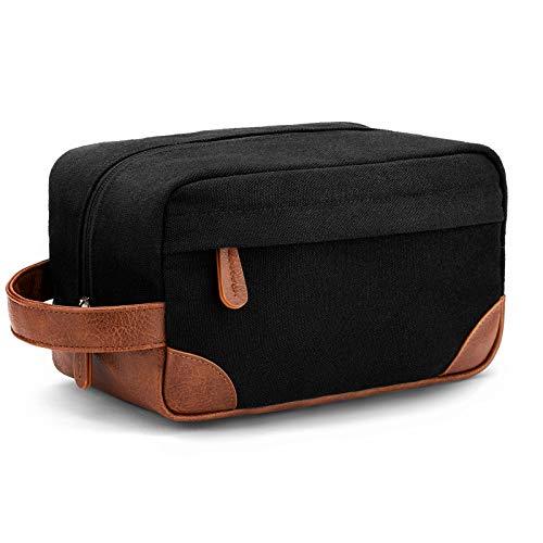 Vorspack Toiletry Bag Hanging Dopp Kit for Men Water Resistant Canvas Shaving Bag with Large Capacity for Travel- Black
