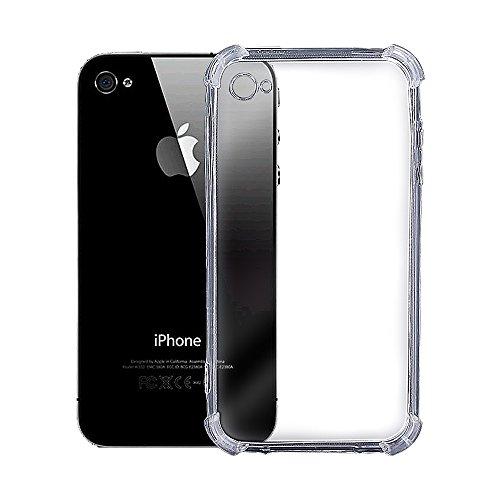 REY Funda Anti-Shock Gel Transparente para iPhone 4 / iPhone 4S, Ultra Fina 0,33mm, Esquinas Reforzadas, Silicona TPU de Alta Resistencia y Flexibilidad