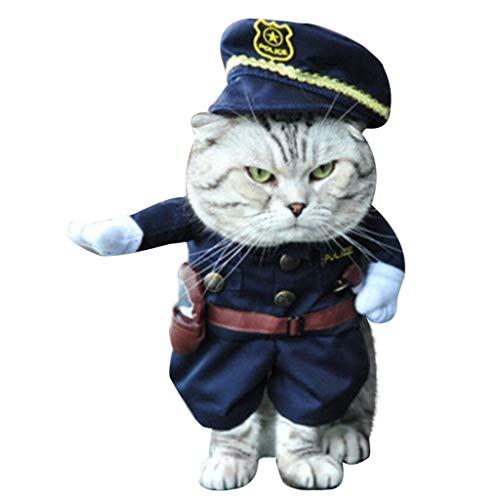 BBring Halloween Katzenkostüm für Katzen Hunde, Cosplay Pirat Polizei Cowboy Kostüm mit Hut Gürtel Warm Haustier Kleidung Winterpullover Hundekleidung für Kleine Hunde Hündchen Kätzchen (M, F)
