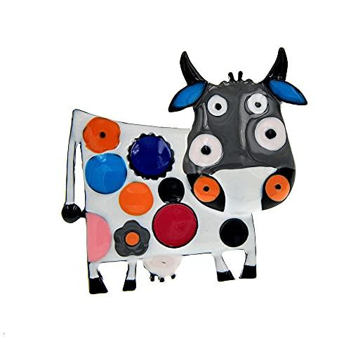 ROTOOY Coloridos broches de Vaca esmaltados para Mujer, Abrigo de Invierno, suéter, Broche, Animal, Leche-Vaca, Pin Diaco Jewelry 2021-negro