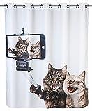 WENKO Anti-Schimmel Duschvorhang Selfie Cat Flex - Anti-Bakteriell, wasserabweisend, waschbar, schimmelresistent mit integrierter Hängeeinrichtung, Polyester, 180 x 200 cm, Mehrfarbig