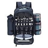 Kacsoo Mochila de picnic portátil para 4 personas, con compartimento refrigerador aislado de vajilla, manta de picnic y 21 piezas cubiertos de picnic bolsa de camping al aire libre