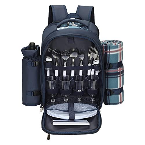 Kacsoo Tragbarer Picknick-Rucksackkühler für 4 Personen mit isoliertem Geschirrkühlfach, Geschirrdecke und 21-teiliger Camping-Tasche für Picknickbesteck im Freien