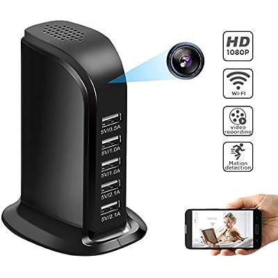 WIFI 1080P Wireless 5-USB Hidden Camera Charger Socket Spy Cam Video Recorder US