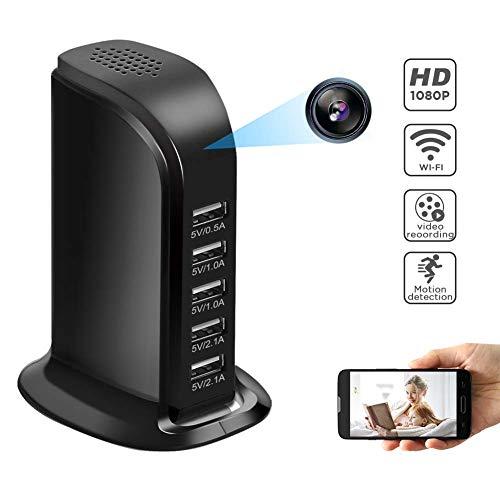Spy camera's USB-oplader verborgen camera - 5-poorts USB-hub met ingebouwde draadloze spionagecamera voor thuisbeveiliging 1080P HD verborgen wifi-camera met bewegingssensor, nanny cam huis/kantoor bewakingscamera