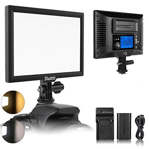 LED Videoleuchte, Dimmbare Videolicht 3200k-5600k Kamera Licht CRI95+, Dauerlicht mit LCD-Display Eingebaute 4400mAh Li-Ion-Akku für alle Digitalen DSLR-Kameras und Camcorde