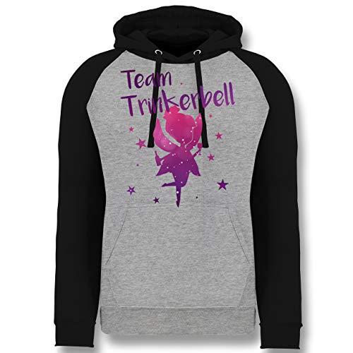 Shirtracer Karneval & Fasching - Team Trinkerbell - L - Grau meliert/Schwarz - Verkleidung Kostüm - JH009 - Baseball Hoodie