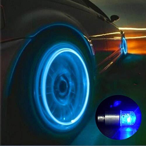 4 Stück Auto Auto Rad Licht Dekoration Fahrrad Reifen LED Licht Deco LED Licht Reifen Ventilkappe Auto Motorrad Zubehör 2 Stück blau