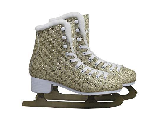 Cox Swain Figure + Kinder Eiskunstlauf Schlittschuhe Glitter, Gold - Gr. 39