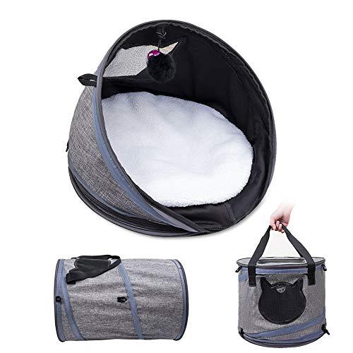 ペットキャリー 猫ベッド 猫トンネル ペットハウス3IN1多機能 折りたたみ可 携帯しやすい 通気性 小動物用 旅行 通院 アウトドア お出かけバック (3IN1多機能猫ベッド)