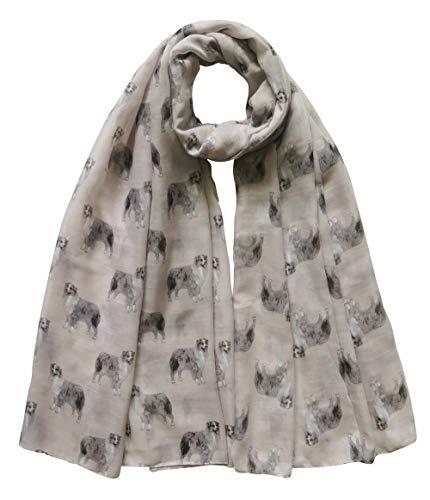 Lina & Lily Australian Shepherd Hund - Damen Schal Tuch mit Hundemotiv (Beige)