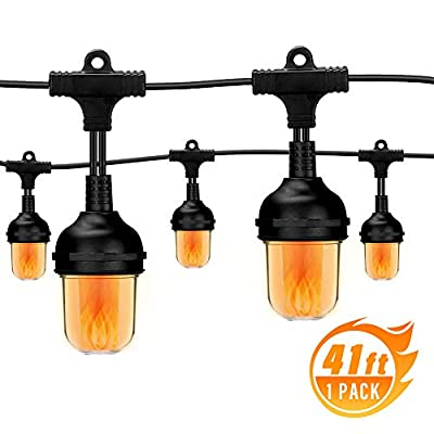 Outdoor String Lights, 41 Ft Weatherproof String Lamps with 10 LED Flame Effect Light Bulbs for Patio Deck Backyard Garden Bedroom Porch Cafe Wedding Graduation Party