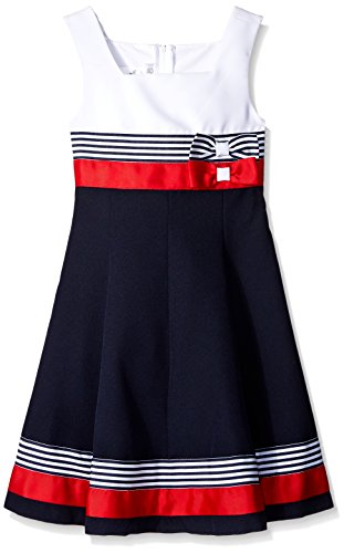 Bonnie Jean Toddler Girls' Red White Colorblock Poplin Dress, Navy, 4T