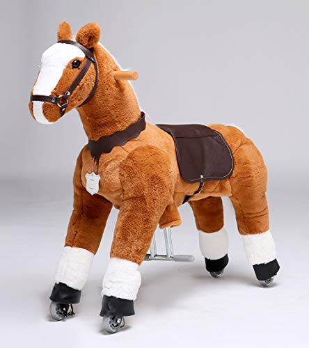 UFREE Horse Action Pony, Ride on Toy, Mechanical Moving Horse, Giddyup for Children 4 to 9 Years Old, Height 36 Inch (White Mane & Tail)