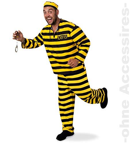 KarnevalsTeufel Erwachsenenkostüm Sträfling 3-teilig Hose, Oberteil und Mütze in schwarz-gelb Gefangener Knacki Häftling (56)