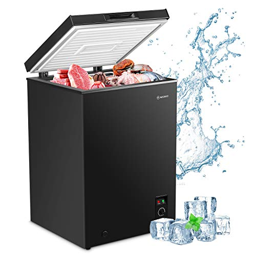 MOOSOO Chest Freezer, 3.5 Cubic Feet Deep Freezer with Removable Storage Basket, 5 Gears Temperature Control Compact Fridge, Energy Saving & Ultra Quiet, CSA Certificated, Black
