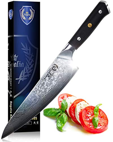 Chef Knife: Best Professional Quality Japanese Damascus Gyuto 8 Inch AUS10 Super Steel 67 Layer, Razor Sharp, Superb Edge Retention, Stain & Corrosion Resistant Chefs Knives By Regalia.