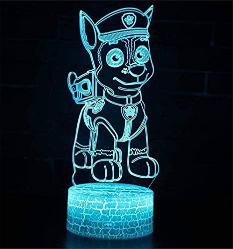 Lámpara de ilusión 3D con controlador de patrulla canina, luz nocturna, lámparas de escritorio, decoración de guardería, mejores festivales, regalos para niños y niños