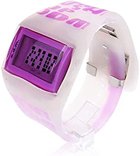 HUFAN Fashion Digital LED Wrist Watch with Silicone Band (Pink) (Color : Purple)