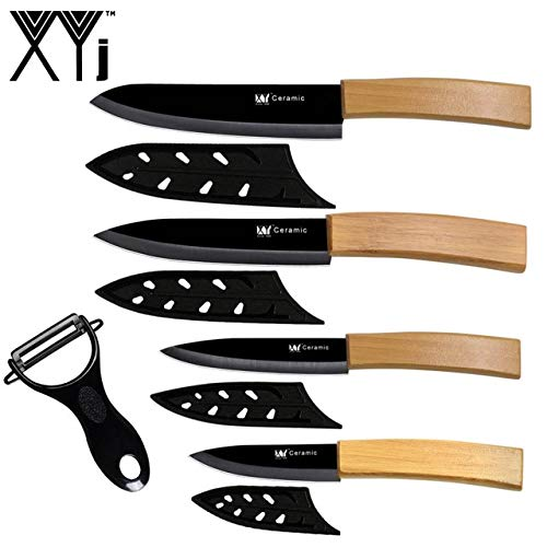 Best Quality 5pcs Bamboo Ceramic Knife Set Peeler Free Covers Chef Slicing Utility Paring Knives Meat Fruit Bread Cooking Tool Accessory