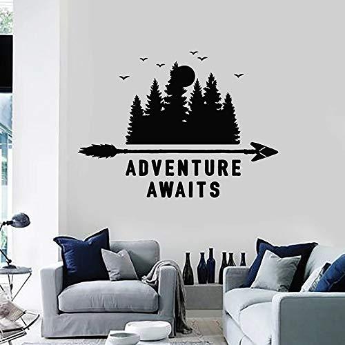Aventura esperando pegatinas de pared frase viaje naturaleza paisaje árboles bosque vinilo ventana pegatinas sala de estar decoración del hogar Mural