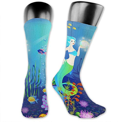 Lucky Home Underwater World Fashion Bright, Light, Wearable, Sweat-Absorbent, Moisture Wicking, Imported Unisex, Medium and Long Socks, Digital Printing