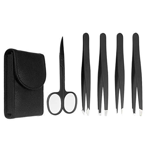 Jinxuny 5Pcs Edelstahl Pinzette Schere Kit mit Tragetasche Leder für Augenbrauen Eingewachsenes Haar Verschiedenen Zwecken nach Hause