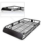 7BLACKSMITHS Black Roof Rack Cargo Basket Carrier Rack with 64' x 39' x 6'' Universal Extension Car Top Luggage Holder SUV Truck Cars