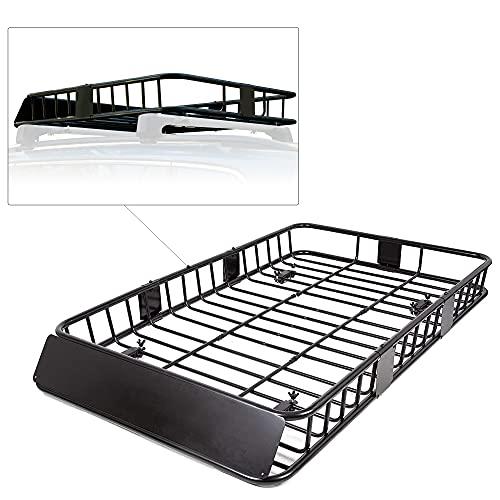 7BLACKSMITHS Black Roof Rack Cargo Basket Carrier Rack with 64' x 39' x 6'' Universal Extension Car...