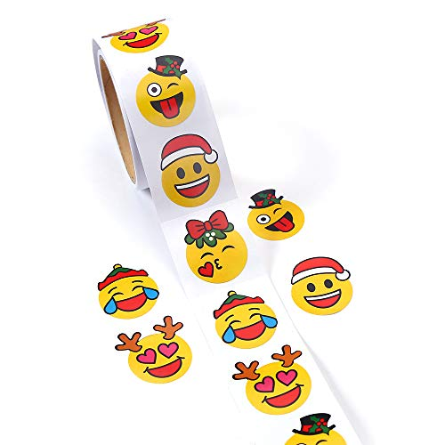 CCINEE Christmas Party Favors Stickers Emoji Stickers Smiley Emoji Lables for Kids, One Roll/100 Pieces.