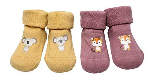 Colourful Baby World Lot de 2 paires de chaussettes épaisses pour bébé garçon fille avec poignets pliés - Jaune - M