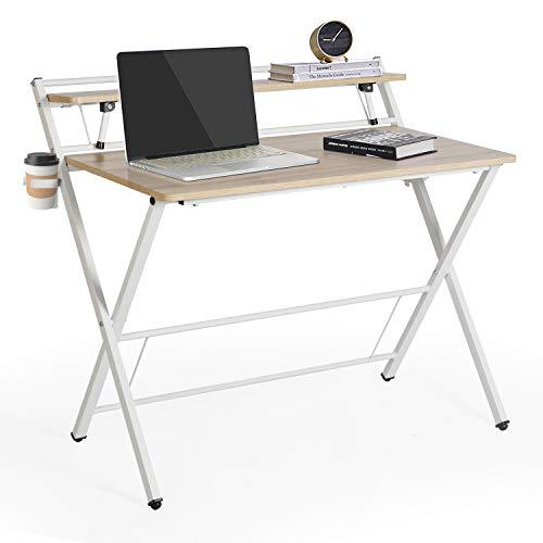 "Folding Computer Desk, 39"" Multi Purpose Foldable Study Desk with Shelf, Cup Holder and Headphone Hook Gamer Workstation Game Table (Khaki)"