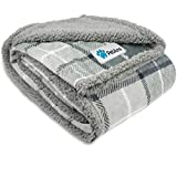 PetAmi Waterproof Dog Blanket for Medium Dogs, Puppies, Small Cats | Soft Sherpa Fleece Pet Blanket Throw for Sofa, Couch | Thick Durable Pet Bed Cover Floor Mat 30 x 40 inches (Plaid Light Grey)
