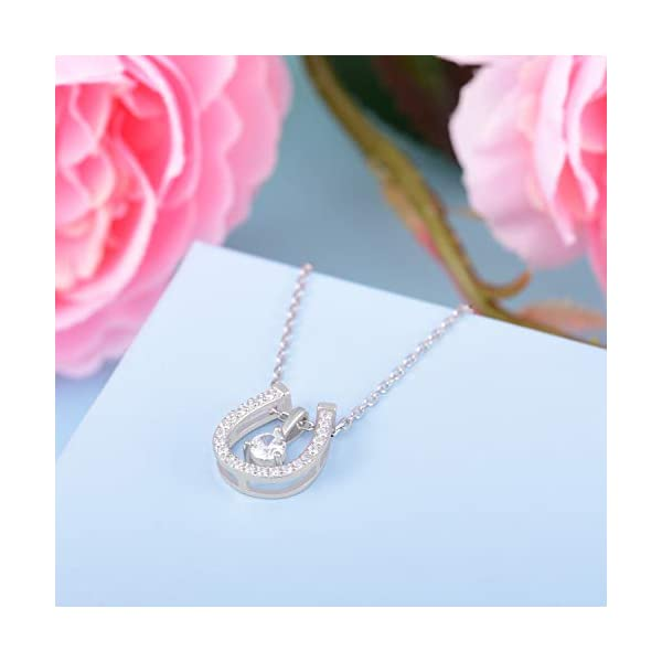 ACJNA 925 Sterling Silver Lucky Horseshoe with CZ Cute U Pendant Necklace Women Jewelry Set