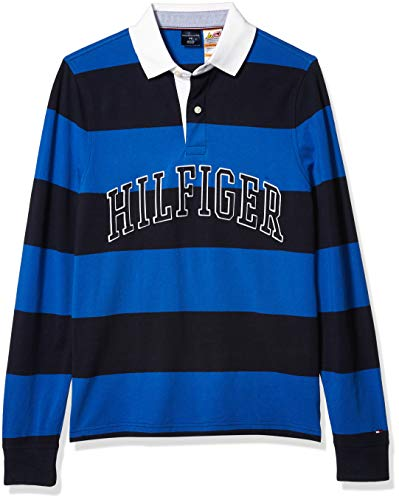 Tommy Hilfiger Men's Adaptive Rugby Shirt with Magnetic Buttons Regular Fit, Blue Iolite, MD