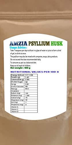 AMZIA Psyllium Husk 99% Clarity 25g Pack of 4 - Pyssilium Husk 100% Pure & Natural -Physillium Husk High in Fibre, to be Mixed with Water Juices & Beverage, Vegan& Vegetarian.