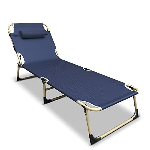 Flexzion Patio Chaise Lounge Chair, Reclining Folding Cot (Dark Blue) Portable Sun Lounger Bed Recliner Relaxer for Outdoor Indoor Yard Pool Beach Camping Sleep Garden with Removable Pillow Headrest