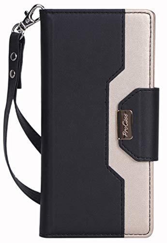 ProCase Hülle für Galaxy Note 10 Plus/ 10+5g, Klappständer Schutzhülle für Galaxy Note 10 Plus 5g, Flip-Ständer Hülle mit Karten-Slots Spiegel Armband -Schwarz