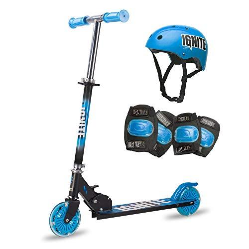 Ignite Flow - Patinete plegable con neumáticos luminosos, rodilleras y casco para niños a partir de 5 años, color azul