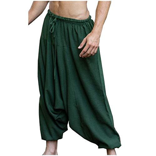 AJJAYA Aladdin Pantalones de algodón con Entrepierna caída para Hombre Yogi Verde Ashtanga Asana Harem Alibaba Yoga Pantalones de Bolsillo afganos cómodos Tai chi Gong