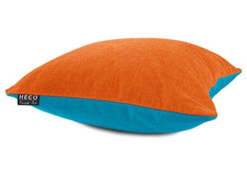 Heco 2-farbige Kissenhülle der Serie Colin Markenqualität - erhältlich in 13 Farbkombinationen - Maße ca. 40 x 60 cm & 50 x 50 cm - blickdichter Samt, 40 x 60 cm, orange/Aqua