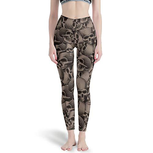 DAMKELLY Store Calavera Calavera - Pantalones de yoga para niña, cintura alta, color blanco