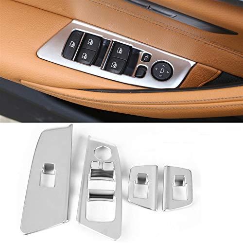 para BMW Serie 5 G30 2017 2018 Interruptor Automático De La Ventana del Coche Panel Elevador Botón Marco Cubierta Recorte Decoración Molduras (Color : Plata)