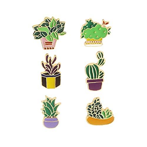 NiceJoy 6PCS Lindos Broches Esmalte Cactus Flower Hierba Aloe Vera Potted Plant Badge Pines