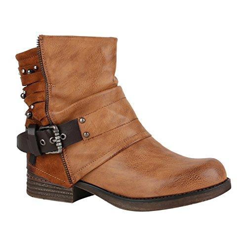 Leicht Gefütterte Damen Stiefel Biker Boots Schnallen Stiefeletten Schuhe 150220 Hellbraun Nieten Avelar 37 Flandell