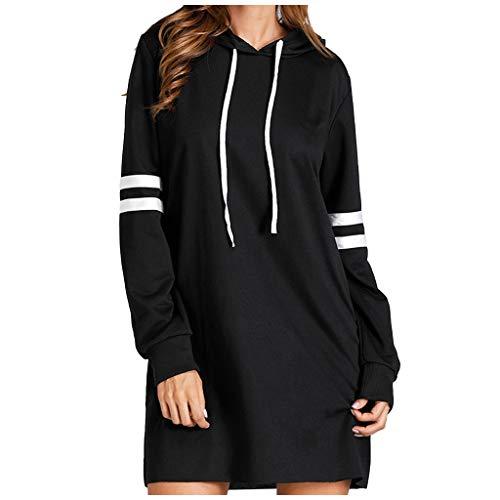 TOFOTL Damen Oversized Langarm Sweatshirt Lose Bequeme Langarm Lässige Kapuzenpullover Kleid
